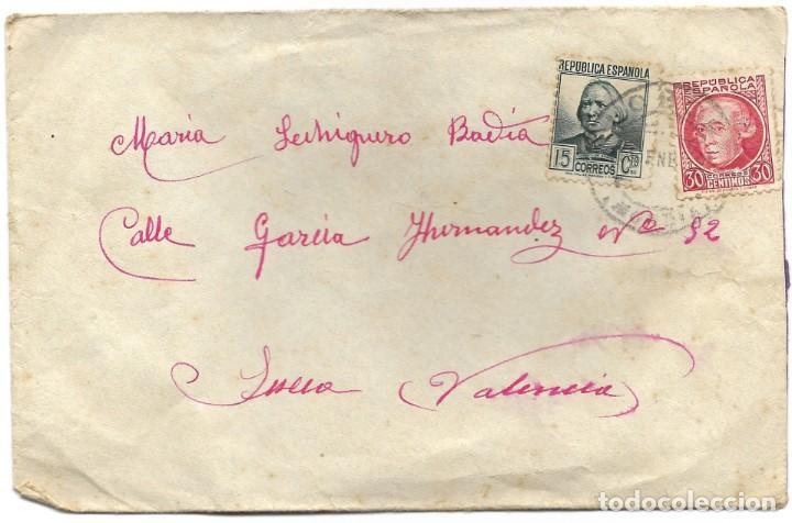 Sellos: LOTE 3 SOBRES CIRCULADOS DE LORCA 222 COMPAÑÍA DE TRANSMISIONES A SUECA (VALENCIA) AÑO 1938 - Foto 2 - 193344701
