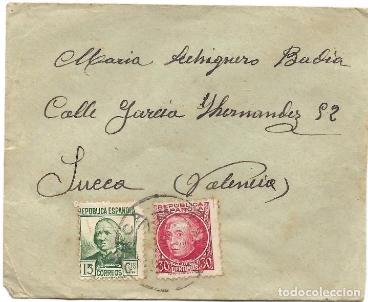 Sellos: LOTE 3 SOBRES CIRCULADOS DE LORCA 222 COMPAÑÍA DE TRANSMISIONES A SUECA (VALENCIA) AÑO 1938 - Foto 5 - 193344701