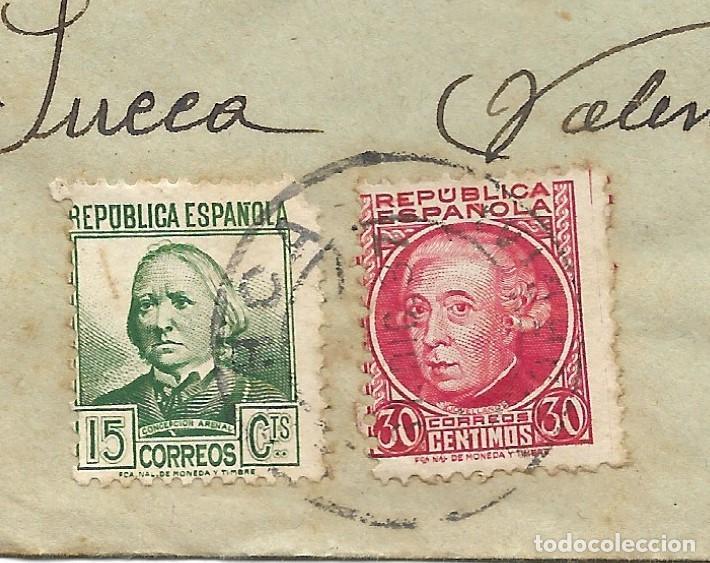 Sellos: LOTE 3 SOBRES CIRCULADOS DE LORCA 222 COMPAÑÍA DE TRANSMISIONES A SUECA (VALENCIA) AÑO 1938 - Foto 6 - 193344701