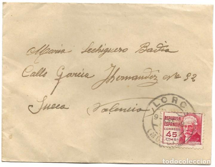 Sellos: LOTE 3 SOBRES CIRCULADOS DE LORCA 222 COMPAÑÍA DE TRANSMISIONES A SUECA (VALENCIA) AÑO 1938 - Foto 8 - 193344701