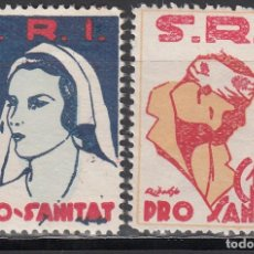 Sellos: GUERRA CIVIL, S.R.I. PRO - SANITAT. 5CTS, 10 CTS,. Lote 193646351