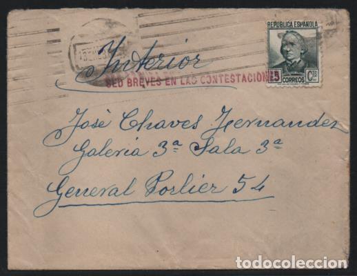 MADRID, CARTA Y SOBRE, PRISION GENERAL POLIER.- SED BREVES EN LAS CONTESTACIONES-- VER FOTO (Sellos - España - Guerra Civil - De 1.936 a 1.939 - Nuevos)