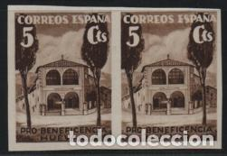 HUEVAR-SEVILLA- 5 CTS, -BENEFICENCIA--ESPAÑA-.PAREJA SIN DENTAR,VER ALLEPUZ Nº 166 VER FOTO (Sellos - España - Guerra Civil - De 1.936 a 1.939 - Usados)