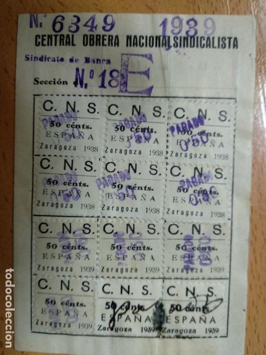 SELLOS. CENTRAL OBRERA NACIONAL SINDICALISTA. ZARAGOZA. C.O.N.S. AÑOS 1938 39 (Sellos - España - Guerra Civil - De 1.936 a 1.939 - Usados)