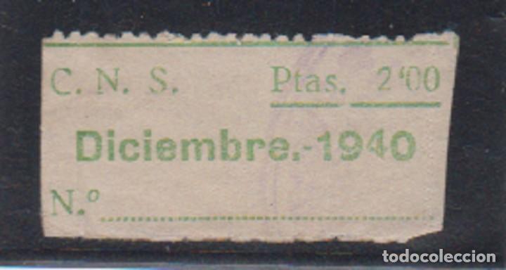C.N.S. 2 PTAS VERDE CENTRAL NACIONAL SINDICALISTA. (Sellos - España - Guerra Civil - De 1.936 a 1.939 - Nuevos)