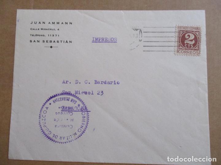 CIRCULADA DE SAN SEBASTIAN A ZARAGOZA CON CENSURA MILITAR (Sellos - España - Guerra Civil - De 1.936 a 1.939 - Cartas)