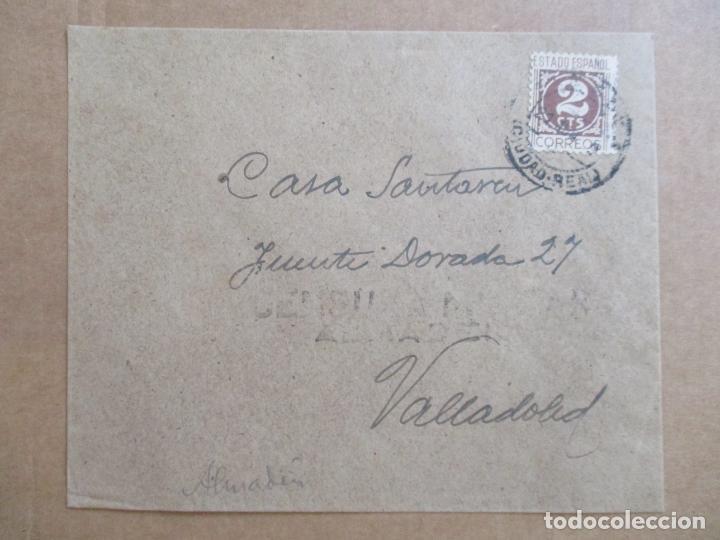 CIRCULADA DE ALMADEN CIUDAD REAL A VALLADOLID CON CENSURA MILITAR (Sellos - España - Guerra Civil - De 1.936 a 1.939 - Cartas)