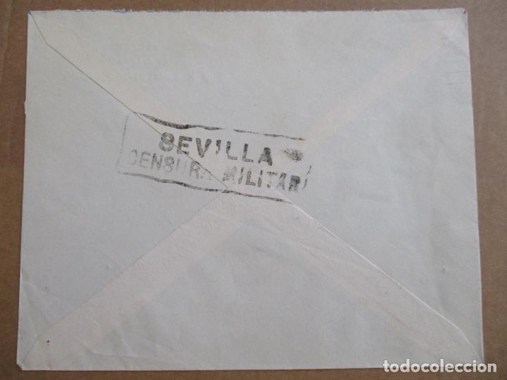Sellos: CIRCULADA 1937 de sevilla al mismo sevilla con bisectado censura militar y sello local - Foto 2 - 194117501