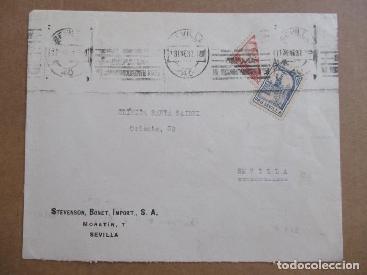 CIRCULADA 1937 DE SEVILLA AL MISMO SEVILLA CON BISECTADO CENSURA MILITAR Y SELLO LOCAL (Sellos - España - Guerra Civil - De 1.936 a 1.939 - Cartas)