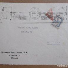 Sellos: CIRCULADA 1937 DE SEVILLA AL MISMO SEVILLA CON BISECTADO CENSURA MILITAR Y SELLO LOCAL. Lote 194117501