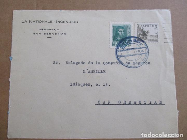 CIRCULADA SEGUROS DE SAN SEBASTIAN A DONOSTIA CON CENSURA MILITAR (Sellos - España - Guerra Civil - De 1.936 a 1.939 - Cartas)