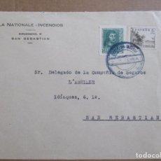 Sellos: CIRCULADA SEGUROS DE SAN SEBASTIAN A DONOSTIA CON CENSURA MILITAR . Lote 194117767