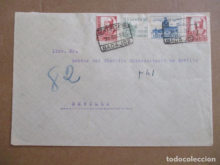 CIRCULADA 1937 DE BADAJOZ A SEVILLA CON SELLO LOCAL (Sellos - España - Guerra Civil - De 1.936 a 1.939 - Cartas)