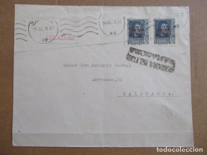CIRCULADA 1938 DE ZARAGOZA A SALAMANCA CON CENSURA MILITAR (Sellos - España - Guerra Civil - De 1.936 a 1.939 - Cartas)