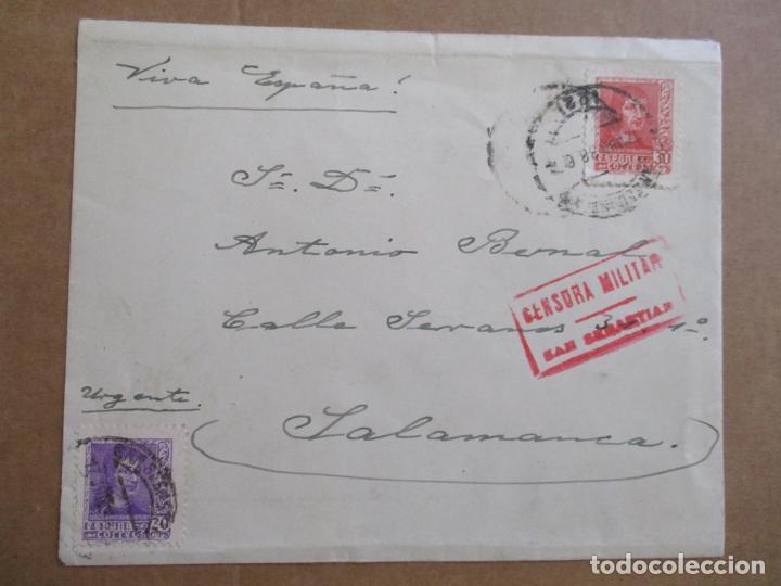 CIRCULADA 1938 DE SAN SEBASTIAN A SALAMANCA CON CENSURA MILITAR (Sellos - España - Guerra Civil - De 1.936 a 1.939 - Cartas)