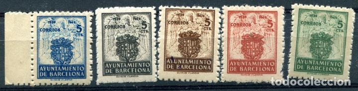 EDIFIL 55/59 DE BARCELONA. SERIE COMPLETA. NUEVOS SIN FIJASELLOS. (Sellos - España - Guerra Civil - Locales - Nuevos)
