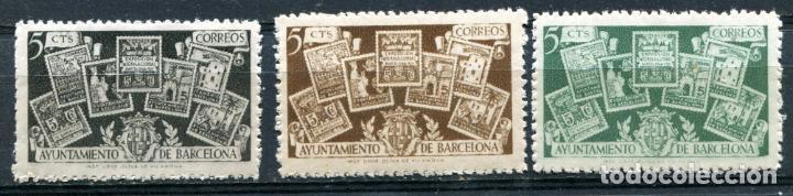 EDIFIL 69/71 DE BARCELONA. SERIE COMPLETA. NUEVOS SIN FIJASELLOS. (Sellos - España - Guerra Civil - Locales - Nuevos)