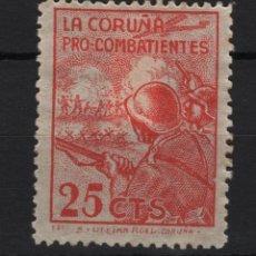 Sellos: TV_001/ VIÑETA PRO COMBATIENTES, LA CORUÑA 25 CENTIMOS. Lote 194361667
