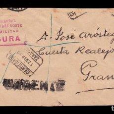 Sellos: * FRAGMENTO CERT. ZARAGOZA-GRANADA 1939 CENSURA CUARTEL GENERAL EJERCITO DEL NORTE POLICÍA MILITAR *. Lote 194374293