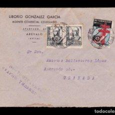 Sellos: *** CARTA ARÉVALO (ÁVILA)-GRANADA 1937. CENSURA MILITAR ARÉVALO (ESCASA) + PRO TUBERCULOSOS ***. Lote 194376817