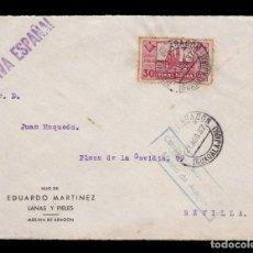 Sellos: *** FRONTAL MOLINA DE ARAGÓN-SEVILLA 1937. CENSURA MOLINA DE ARAGÓN (AZUL, NO CITA) + EDIFIL 834 ***. Lote 194380295