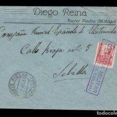 Sellos: *** CARTA FUENTE PIEDRA (MÁLAGA)-SEVILLA 1937. CENSURA MILITAR FUENTE PIEDRA (MAGNIFICA) ***. Lote 194381178