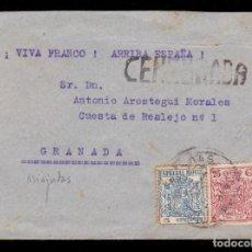 Sellos: *** CARTA MIAJADAS (CÁCERES)-GRANADA 1937. CENSURA MIAJADAS + FISCALES ***. Lote 194385276
