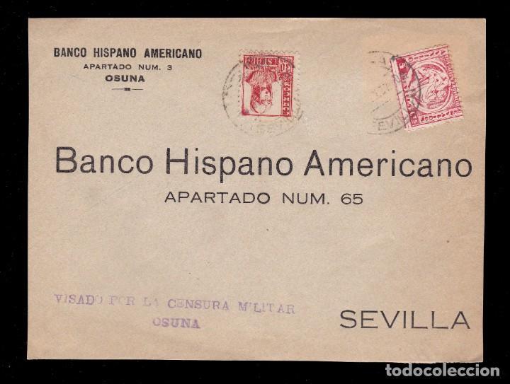*** FRONTAL OSUNA-SEVILLA 1937. MAGNÍFICA CENSURA MILITAR OSUNA + AUXILIO DESVALIDOS SEVILLA *** (Sellos - España - Guerra Civil - De 1.936 a 1.939 - Usados)