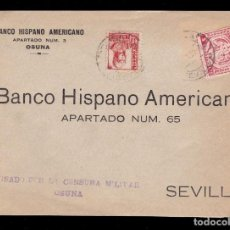 Sellos: *** FRONTAL OSUNA-SEVILLA 1937. MAGNÍFICA CENSURA MILITAR OSUNA + AUXILIO DESVALIDOS SEVILLA ***. Lote 194385808