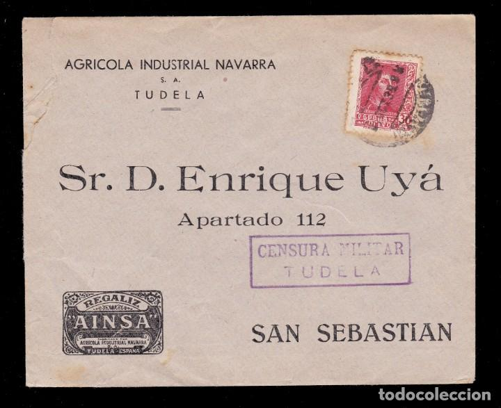 *** CARTA TUDELA-SAN SEBASTIÁN 1938. PUBLICIDAD REGALIZ AINSA. CENSURA TUDELA (MAGNÍFICA) *** (Sellos - España - Guerra Civil - De 1.936 a 1.939 - Cartas)