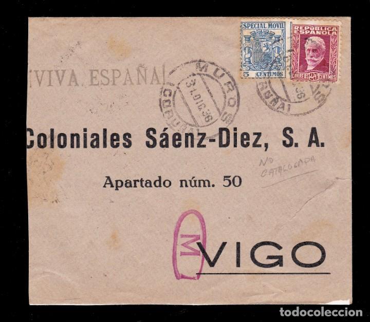 *** CARTA MUROS-VIGO 1936. CENSURA MILITAR MUROS (NO CATALOGADA) + FISCAL *** (Sellos - España - Guerra Civil - De 1.936 a 1.939 - Cartas)