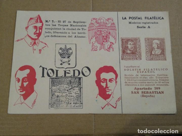 TOLEDO, LA POSTAL FILATÉLICA. MODELOS REGISTRADOS SERIE A CENSURA MILITAR. (Sellos - España - Guerra Civil - De 1.936 a 1.939 - Usados)