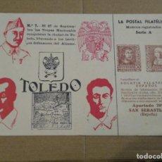 Sellos: TOLEDO, LA POSTAL FILATÉLICA. MODELOS REGISTRADOS SERIE A CENSURA MILITAR. . Lote 194509092