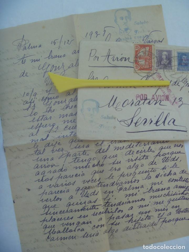 GUERRA CIVIL : CARTA DE PALMA A SEVILLA 1938. CENSURA MILITAR. VIÑETA CONTRA EL PARO E ISABEL (Sellos - España - Guerra Civil - De 1.936 a 1.939 - Cartas)