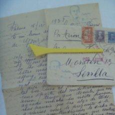 Sellos: GUERRA CIVIL : CARTA DE PALMA A SEVILLA 1938. CENSURA MILITAR. VIÑETA CONTRA EL PARO E ISABEL . Lote 194543372