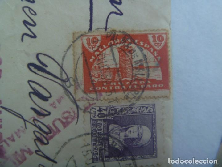 Sellos: GUERRA CIVIL : CARTA DE PALMA A SEVILLA 1938. CENSURA MILITAR. VIÑETA CONTRA EL PARO E ISABEL - Foto 2 - 194543372