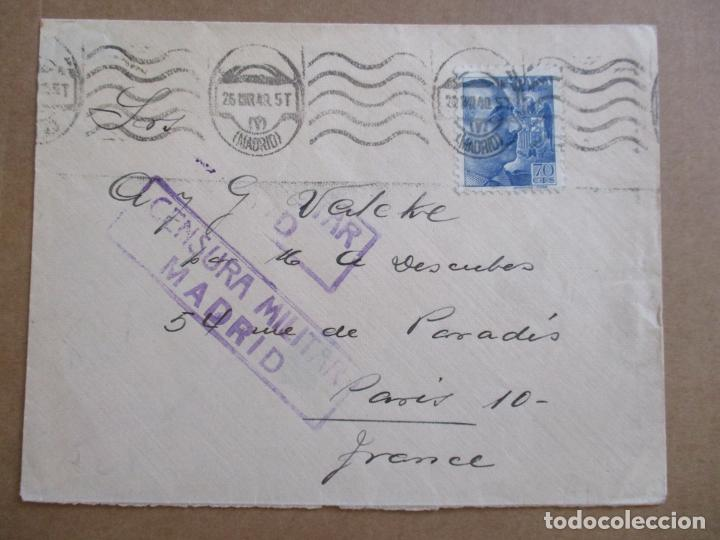 CIRCULADA 1940 DE MADRID A PARIS CON CENSURA MILITAR (Sellos - España - Guerra Civil - De 1.936 a 1.939 - Cartas)
