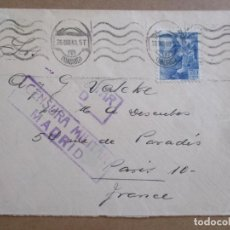 Sellos: CIRCULADA 1940 DE MADRID A PARIS CON CENSURA MILITAR. Lote 194544080