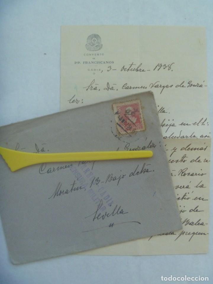 GUERRA CIVIL: CARTA CONVENTO FRANCISCANO DE CADIZ A SEVILLA. SELLO ISABEL, VIÑETA BENEFICIENCIA 1938 (Sellos - España - Guerra Civil - De 1.936 a 1.939 - Cartas)