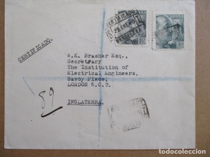 CIRCULADA 1940 DE BARCELONA A LONDON LONDRES CON CENSURA MILITAR (Sellos - España - Guerra Civil - De 1.936 a 1.939 - Cartas)