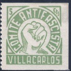 Sellos: VILLACARLOS. COMITÉ ANTIFASCISTA. MLH.. Lote 194578785