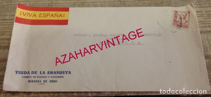 MIRANDA DE EBRO, 1937, SOBRE CIRCULADO A SEVILLA, MEMBRETE VIUDA DE LA ERANUEVA (Sellos - España - Guerra Civil - De 1.936 a 1.939 - Cartas)