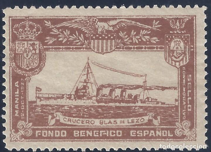 FONDO BENÉFICO ESPAÑOL. LLEGADA 12-10-1927 A MANILA DEL CRUCERO BLAS DE LEZO. MUY ESCASO. LUJO. MH * (Sellos - España - Guerra Civil - Viñetas - Nuevos)