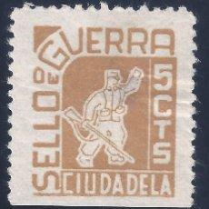 Sellos: CIUDADELA. SELLO DE GUERRA. 5 CTS. MH *. Lote 194631432