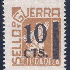 Sellos: CIUDADELA. SELLO DE GUERRA. SOBRECARGA 10 CTS. MH *. Lote 194631500