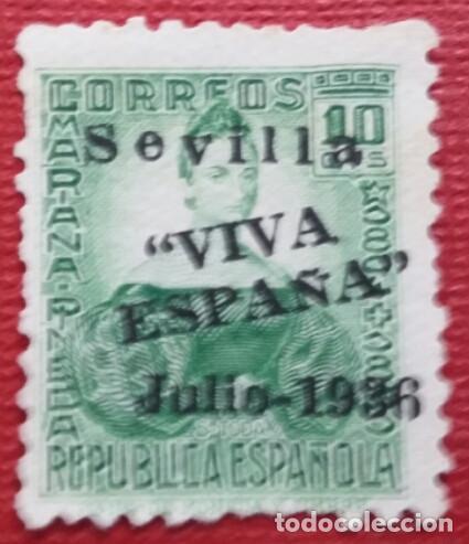 EMISIONES PATRIÓTICAS, SEVILLA. SELLOS REPUBLICANOS SOBRECARGADOS, 1936. 10 CTS.(Nº 21 EDIFIL). (Sellos - España - Guerra Civil - De 1.936 a 1.939 - Usados)
