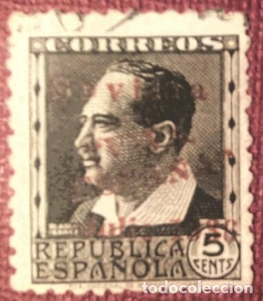 EMISIONES PATRIÓTICAS, SEVILLA. SELLOS REPUBLICANOS SOBRECARGADOS, 1936. 5 CTS.(Nº 20 EDIFIL). (Sellos - España - Guerra Civil - De 1.936 a 1.939 - Usados)