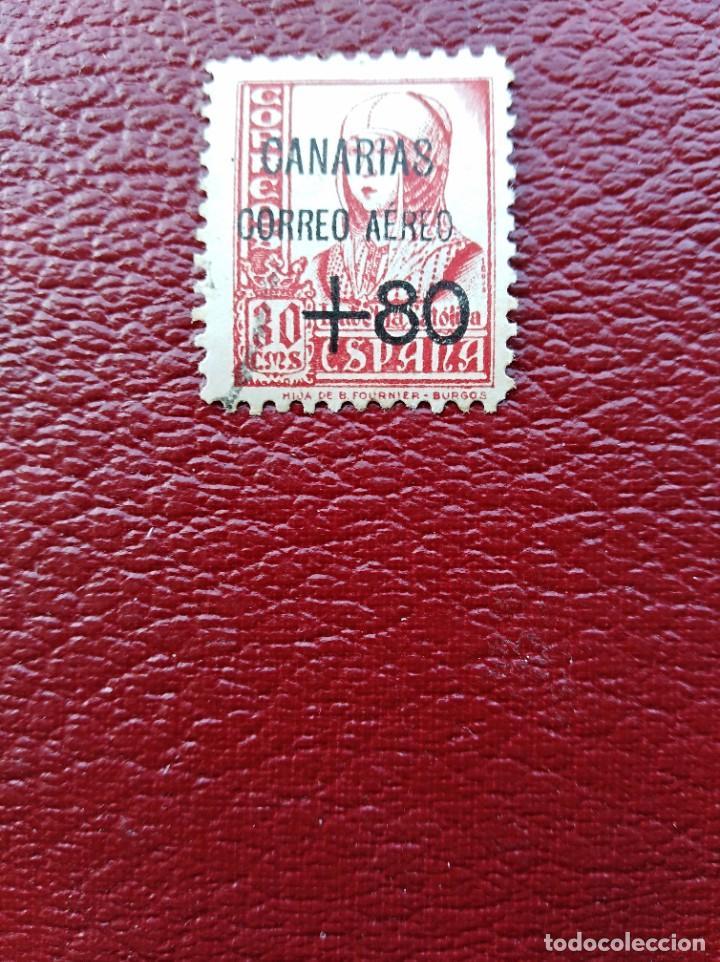 SELLO NACIONAL HABILITADO CORREO AÉREO CANARIAS ESPAÑA (Sellos - España - Guerra Civil - De 1.936 a 1.939 - Usados)