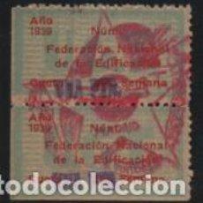 Sellos: U.G.T. 1 PTA,PAREJA CON SELLADO, FED. NAC. DE EDIFICACION, AÑO 1939, VER FOTO. Lote 194924533