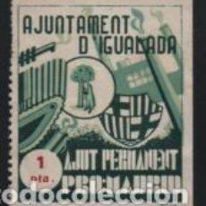 Sellos: IGUALADA, 1 PTA, VERDE, AJUT PERMANEIT--PRO-MADRID,-, VER FOTO. Lote 194924833